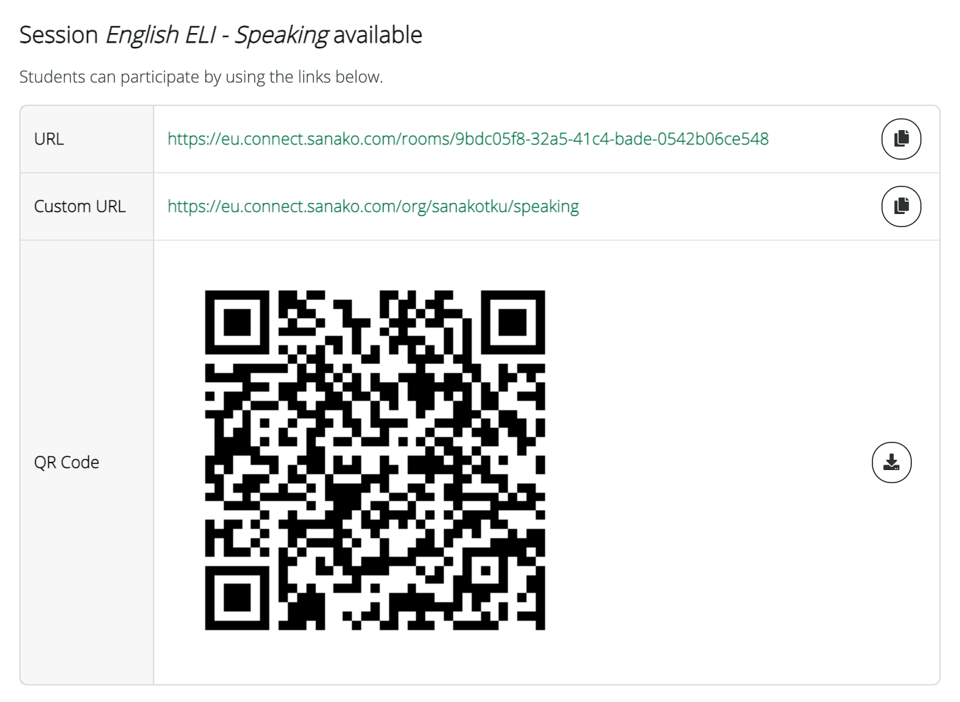 Connect_Links for students to join