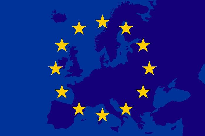 EU Flag and EU map in the background