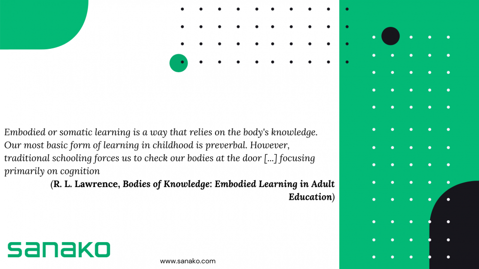 Illustration with a quote related to embodied learning method