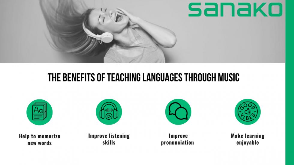 Image describing the benefits of using music in language teaching