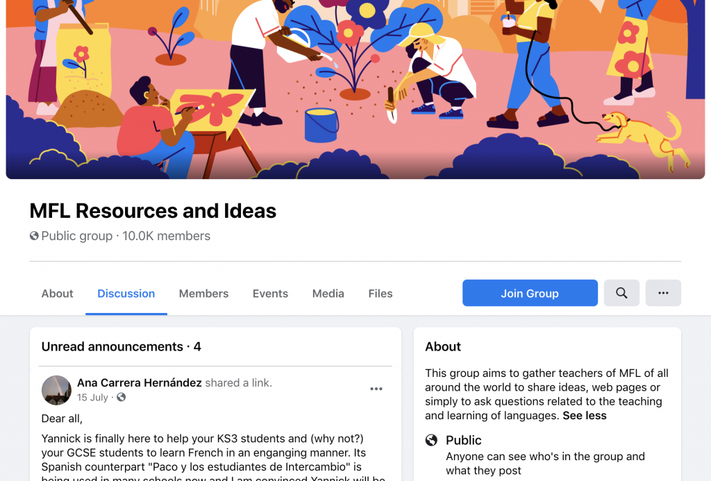 MFL resources and ideas FB group screenshot