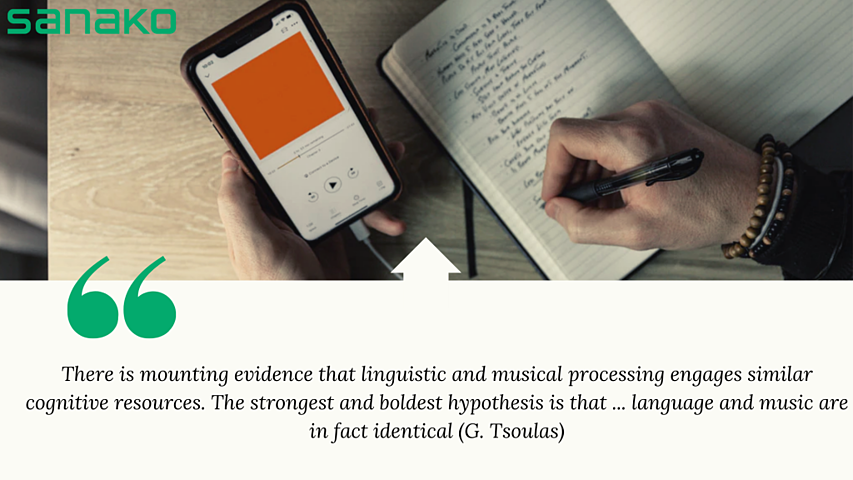 Illustration image with quote related to how language and music are related