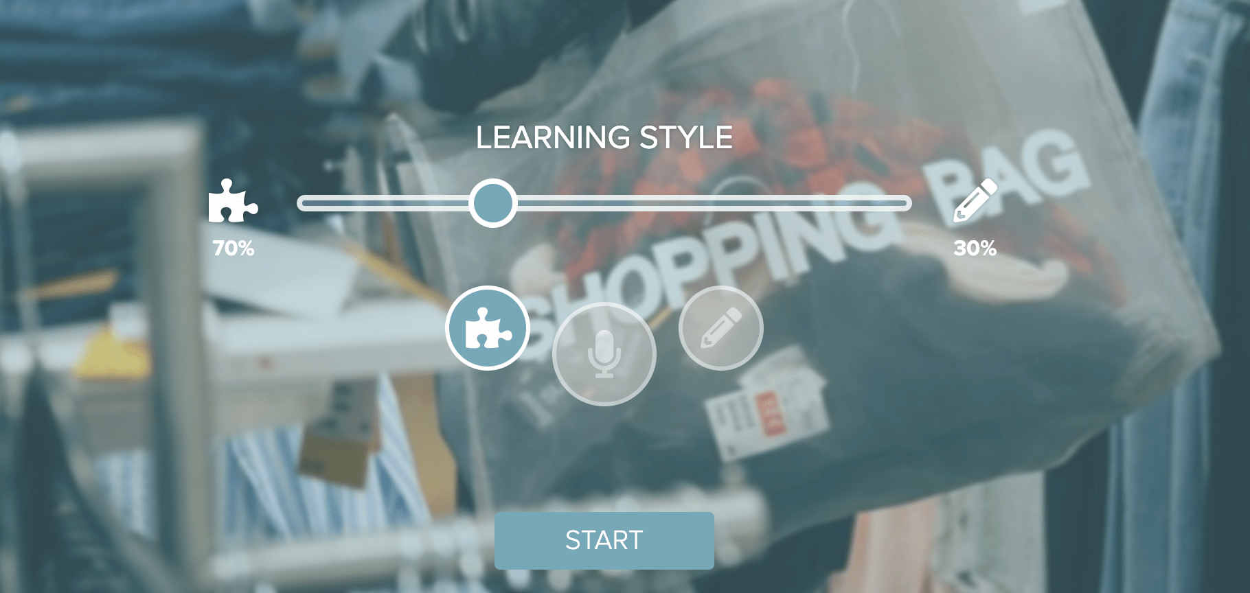 Reactored learning style slider suitable for learners of all levels