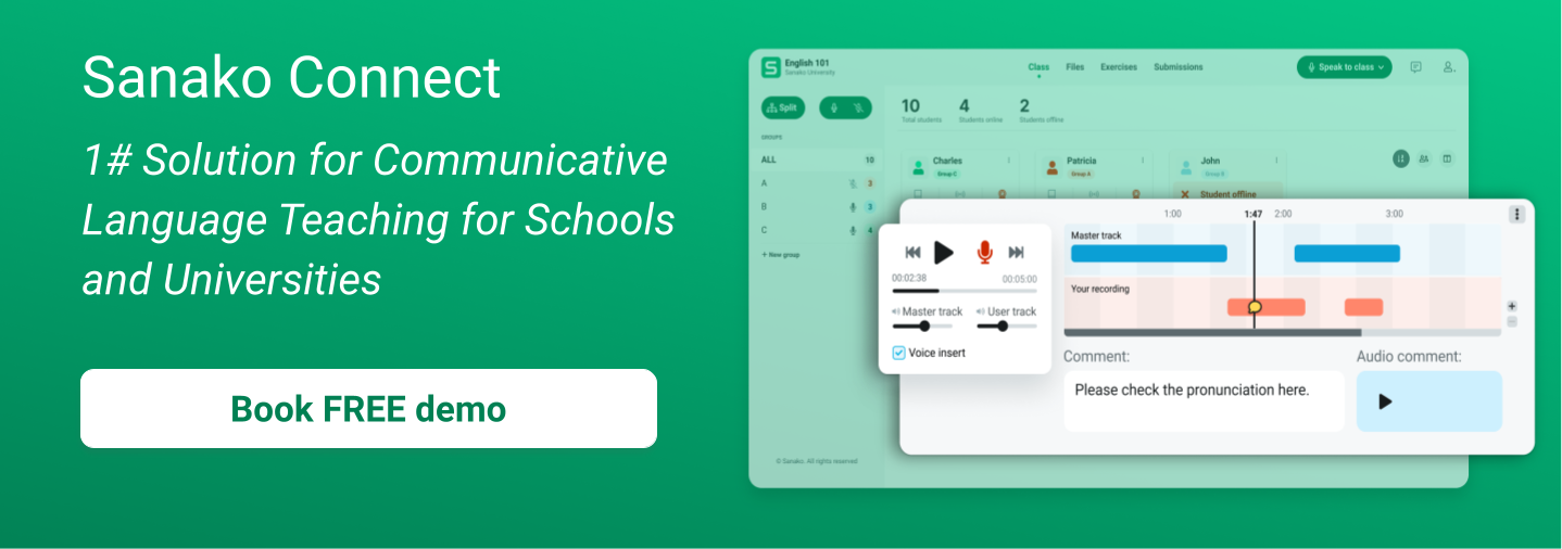 Sanako Connect banner - solution for communicative language teaching