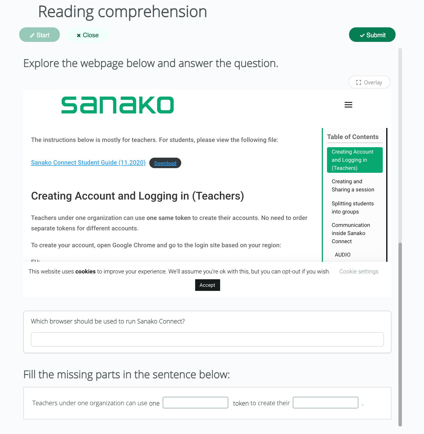 Sanako Connect-reading skill 2