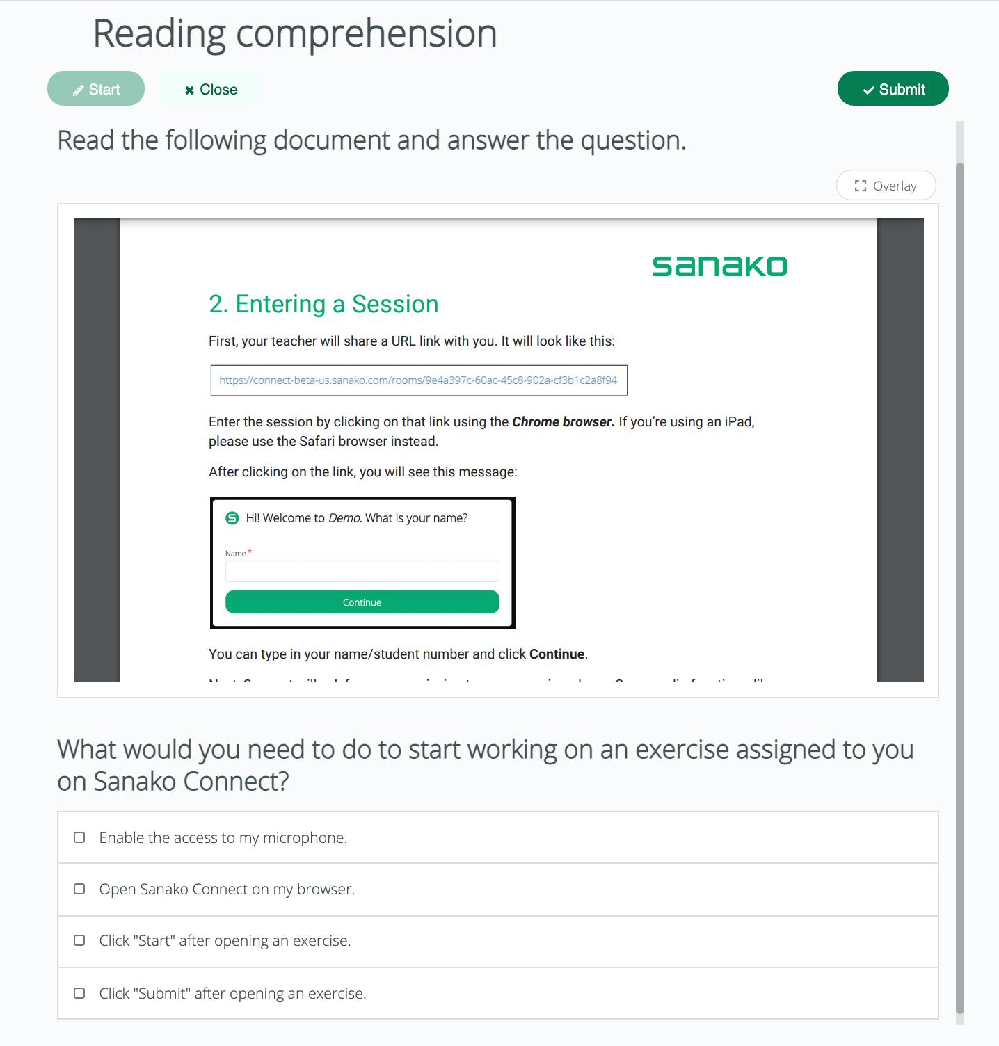 Sanako Connect-reading skill