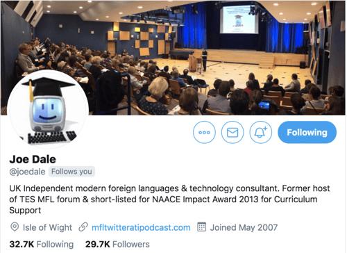 Image of language teaching consultant Joe Dale's twitter profile