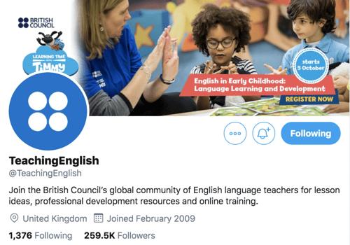 Teaching English twitter profile