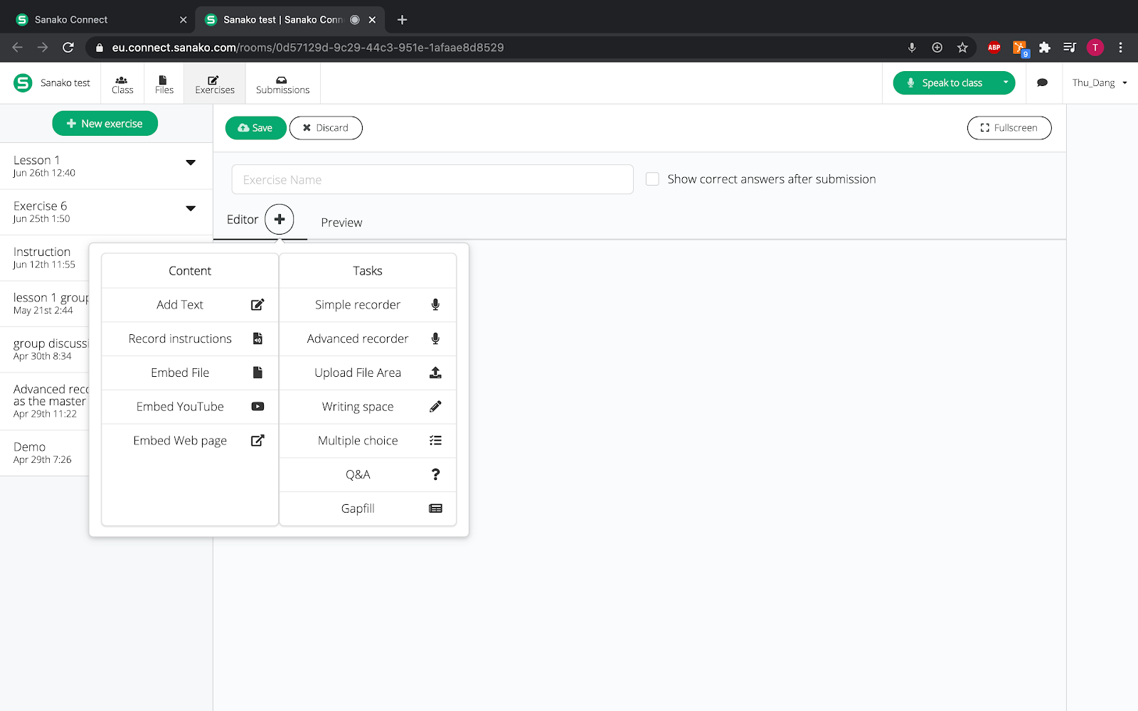 creating language learning excersises in sanako connect