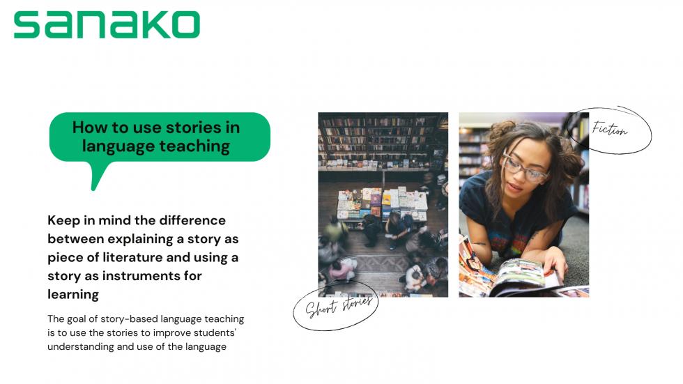 illustration of story-based language learning lesson